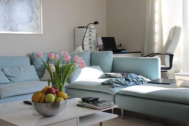 Obývačka s modrým gaučom a tulipánmi na stole